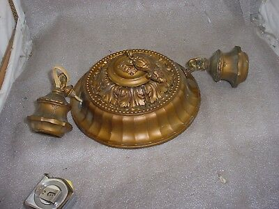 Antique Vintage 1900's  Cast Metal Electric 2Light/arms CEILING mountFixture