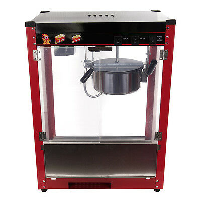 1370W Commercial Stainless Steel Popcorn Machine 8oz Red Pop Corn Warmer Cooker