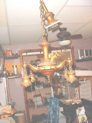 VINTAGE HEAVY 1900's Cast metal Gold Art Deco 4 Arm  Chandelier  Ceiling Fixture