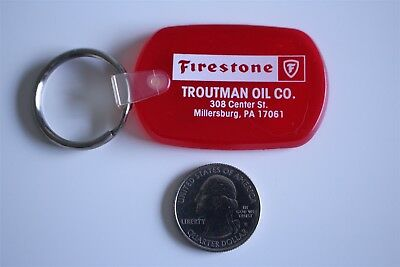 Firestone Tires Troutman Oil Co Millersburg Pennsylvania Keychain Key Ring 28609