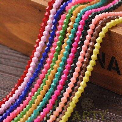 New 200pcs 4mm Bicone Faceted Lustrous Loose Spacer Glass Beads Mixed Color