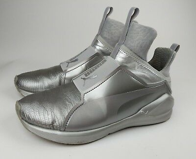 2c8a1b178067 PUMA FIERCE METALLIC Silver Leather Hightop Pull-on Sneakers ...