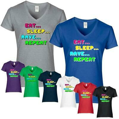 ee4b49e9798421 DAMEN T-SHIRT 'EAT SLEEP RAVE REPEAT' House Party DJ weiß schwarz ...