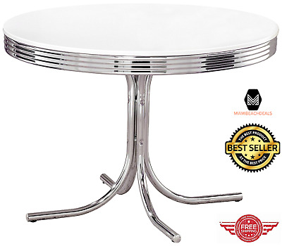 Retro Dining Table 1950s Metal Chrome Dinette Round 50s Style Kitchen Dinning