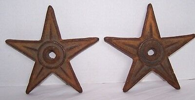 """Antique Architectural Decorative Cast Iron 7"""" Star Wall Washer Anchor Plate X2"""