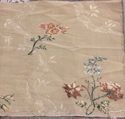 "Antique 18thC French Floral Silk Brocade Fabric~10""L X 20""W~Dolls,Collectors"