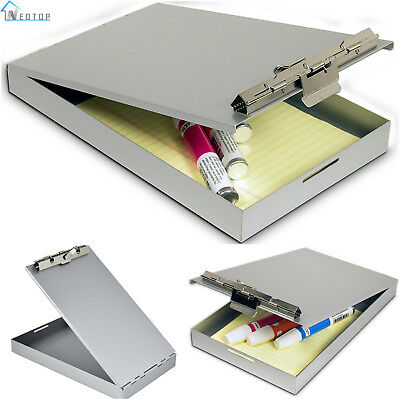 Small Metal Storage Clipboard Letter Document Paper Box Organizer Memo Size New
