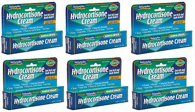 6 x HYDROCORTISONE CREAM Max. Strength 1%, Fast Itch/Rash Relief Natureplex 1oz
