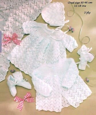 "Baby Layette_  ""COPY""  Baby clothes knitting pattern  30-46 cm / 16-26 ins 3 Ply"