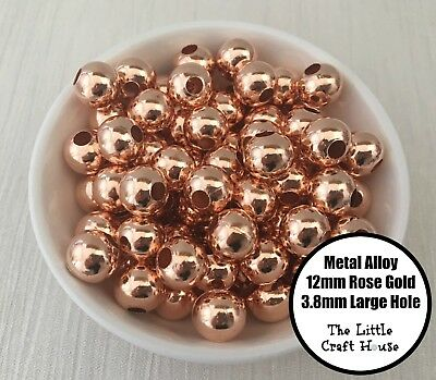 25PC 12mm Metal Alloy Round Rose Gold Beads Large 3.8mm Hole Spacer Bead Shiny