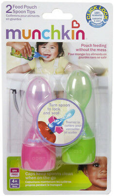 MUNCHKIN - Click Lock Food Pouch Spoon Tips Girl - 2 Pack