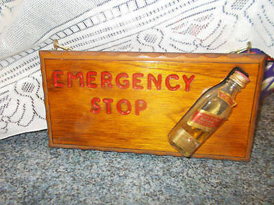 Bar Sign Emergency Stop With Whisky Bottle Wall Picture For Bar Or Man's Cave