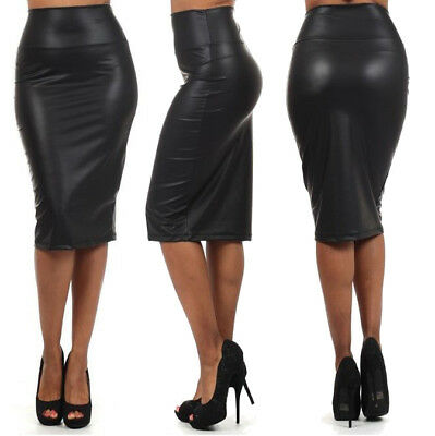 Sexy Leder Look Bleistiftrock Pencil Wetlook Stretch Glanz Business Rock Schwarz