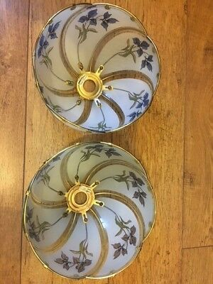 Pair of vintage style classic round ceiling pendant light shades