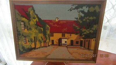 Framed Needlepoint TapestryCountry House