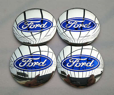 "4x 56mm 2.2"" Auto Car Wheel Center Cap Emblem Decal Sticker for Ford Silver"