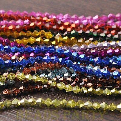 New Arrival  100pcs 6mm Faceted Bicone Loose Spacer Glass Beads Mixed Color
