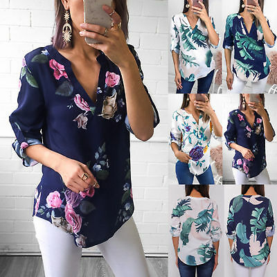 Womens Long Sleeve V Neck Floral T-Shirt Ladies Summer Casual Shirts Tops Blouse