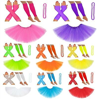 Adults Silk Tutu Leg Warmers Gloves Beads 80S Neon Petticoat Set Fancy Dress