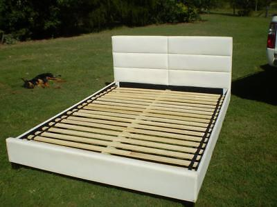 Leather look queen size bed  with side and foot ends feature slat base