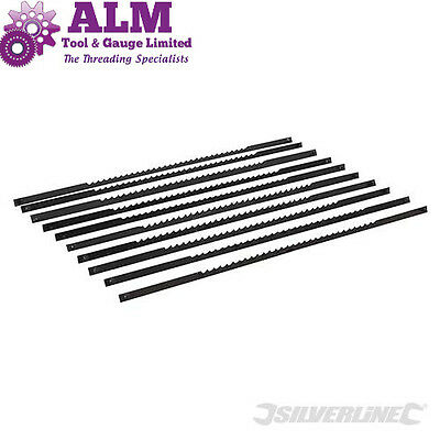 Silverline 10 pack Scroll Saw Blades 130mm 10,14,21 & 24tpi for Wood / Plastic