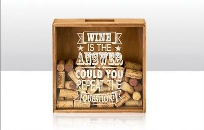 Wine Cork Box WINE IS THE ANSWER Shadow Box Storage Cork Collection Display Gift