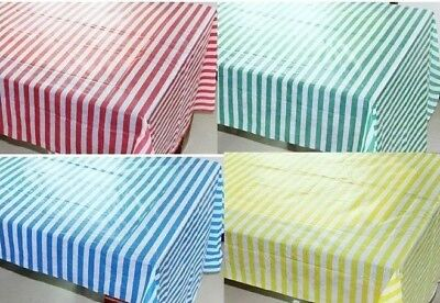 Reusable Plastic Striped Tablecloth Tablecover Rectangular Stripe Tablecloths