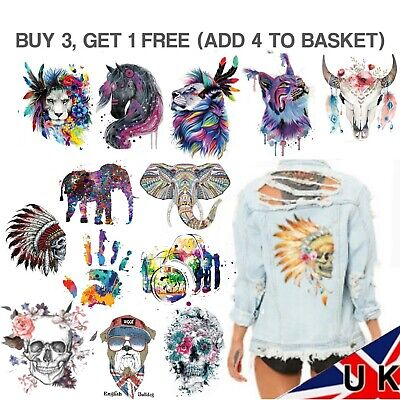 UK SELLER Iron On Large Patch Transfer Back Heat Transfer Stickers Jacket Huge