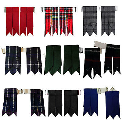 Scottish Kilt Hose Sock Flashes Garters Pointed Various Tartans Highland Wear