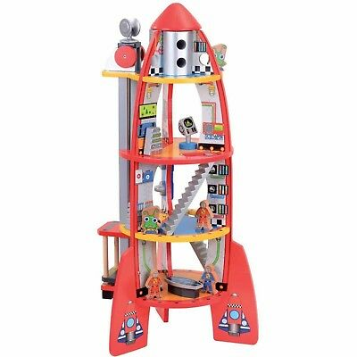 Children Wooden Rocket Ship Bubbadoo Toy Playset