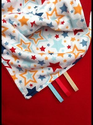 Baby Blanket, Boy/Girl, Stars On Cotton/Red Fleece, Blue, Orange, Red, Handmade