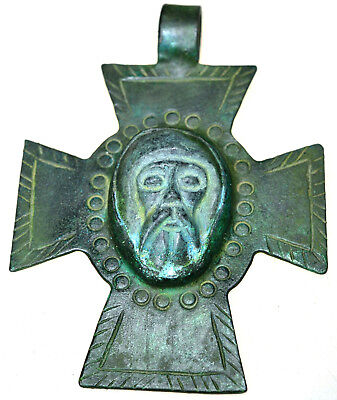Large Byzantine Bronze Cameo Cross Pendant