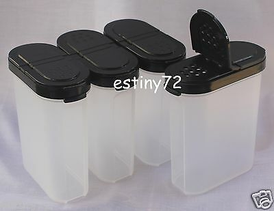 Tupperware Modular Mates Large Spice Containers Set (4) Black Seals New