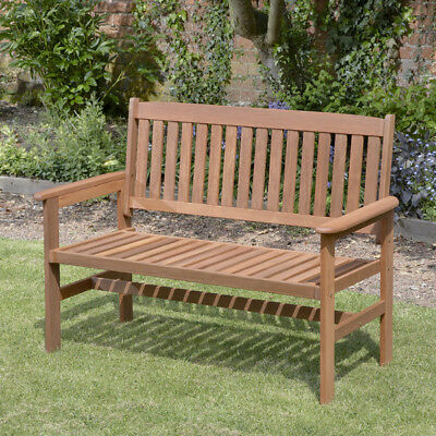 Brass-coloured 2 Seater Hardwood Outdoor Summer Seat out Garden Bench