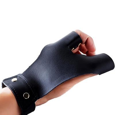 Bow Hunting Archery Leather Glove Finger Guard Protector Arrow Shooting  DH
