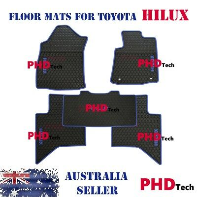 All Weather Rubber floor mats Toyota HILUX 2016-Onwards Dual Cab Blue Trim