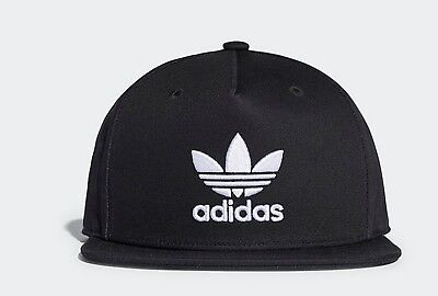 Adidas Originals trefoil flat brim black baseball cap hat mens women one size