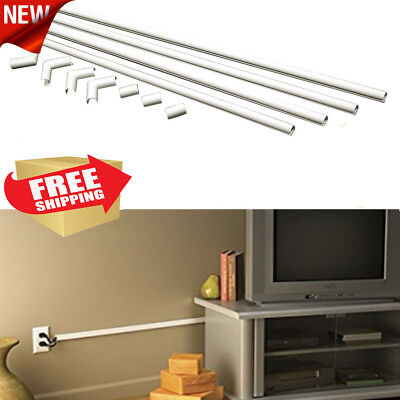 TV Wall Organizer Wire Cable Cord Hide Holder Cover Kit System White