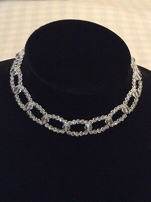 Rare Swarovski Swan Signed Clear Multifaceted Crystal Necklace Choker Silvertone