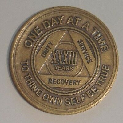 aa alcoholics anonymous bronze 33 year recovery sobriety coin token medallion