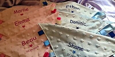Personalised baby taggy blanket comforter - soft dimple fabric - beautiful gift