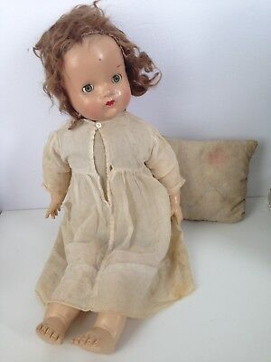 "Antique RELIABLE 23"" Composition Doll Vintage Gauze Dress Eye Closing"