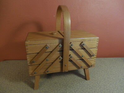 """Vintage Wooden Sewing Cabinet Basket 3 Tier Cantilever Box on Legs 12 3/4"""" Long"""