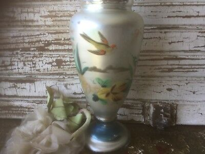 Antique 1800's Victorian mercury glass vase hand painted bird & flowers
