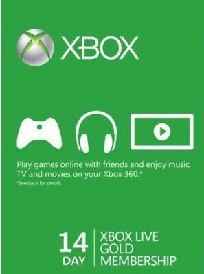 Xbox Live 14 Days Trial Gold Membership Subscription Code- Code Will be Emailed