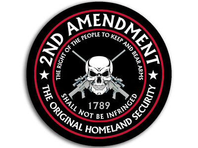 4x4 inch ROUND 2nd Amendment ORIGINAL HOMELAND SECURITY Sticker -gun nra arms us