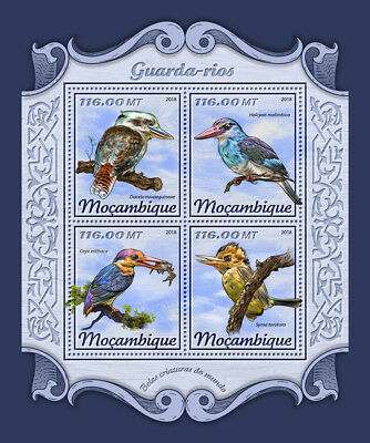 Mozambique 2018 MNH Kingfishers Kingfisher 4v M/S Birds Stamps