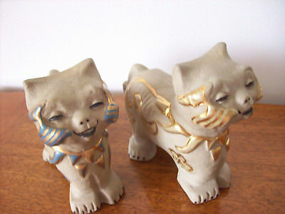 Pair Of Pottery Chinese Cats By Angela Of Calif Usa Xlnt Condition