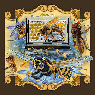 Mozambique 2018 MNH Bees Bee 1v S/S Fauna Insects Stamps