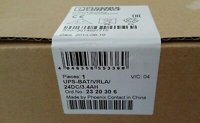 New in box Phoenix Contact, UPS-BAT/VRLA/ 24DC/ 3.4AH, 2320306